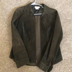 100% leather suede hunter green sport jacket